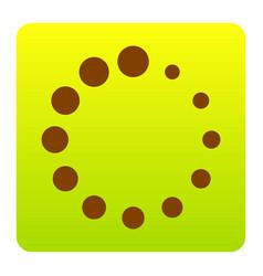 Circular loading sign brown icon at green vector