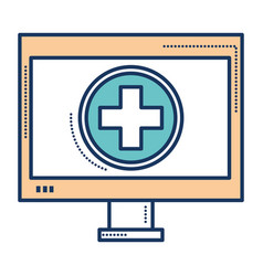 computer display with medical app vector image