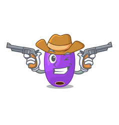 Cowboy fruit jambolan in the character bowl vector