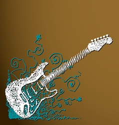 Creative scribble guitar background vector image