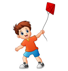 Cute boy playing kite vector