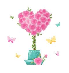 Cute cartoon tree topiary rose flowers vector