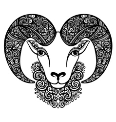 Decorative Sheep with Patterned Horns vector