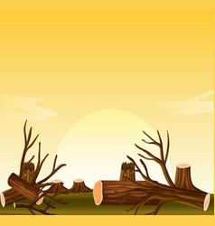 Deforestation scene at sunset vector