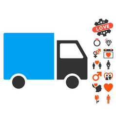 delivery van icon with dating bonus vector image