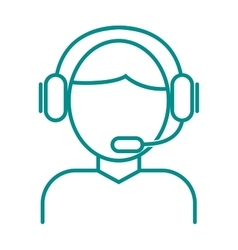 Face thin outline headphone vector
