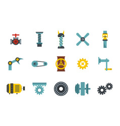Factory tools icon set flat style vector
