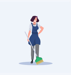 female housewife holding broom woman cleaner vector image