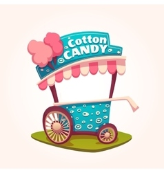 Flat of cotton candy cart vector