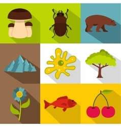 Flora and fauna icons set flat style vector