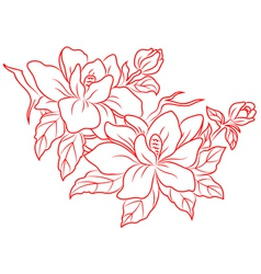 Flowers in chinese retro style vector