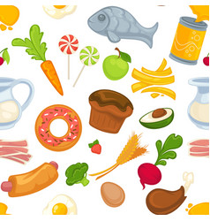 food and cakes bun and meat bacon meal vector image