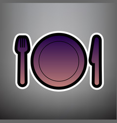 fork plate and knife violet gradient vector image