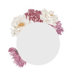 frame in form a circle with peony flowers vector image
