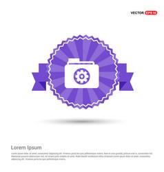 Gear box icon - purple ribbon banner vector
