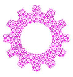 Gear wheel mosaic of venus symbol icons vector