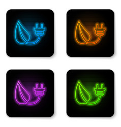 glowing neon electric saving plug in leaf icon vector image