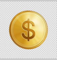 golden dollar coin symbol vector image