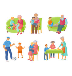 grandparents grandchildren spending time together vector image