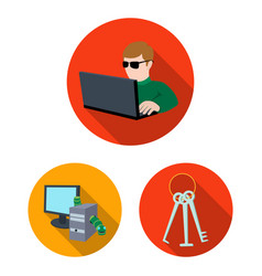 Hacker and hacking flat icons in set collection vector