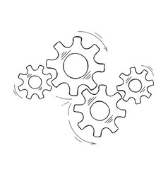 Hand drawn industrial cog and gear sketch graphic vector