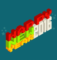 Happy New Year 2016 Pixel art 8 bit style vector