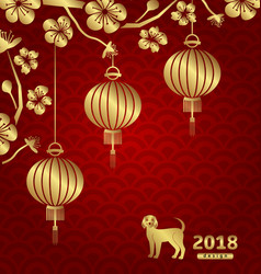 happy oriental card for chinese new year 2018 vector image