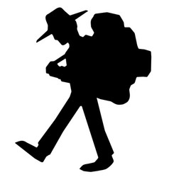 Hiker walking silhouette vector