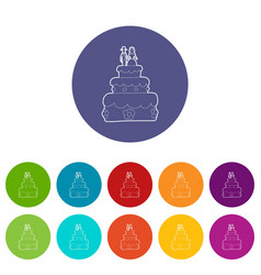 holiday cake icons set color vector image