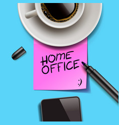 Home office written on pink post it stay home vector