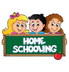 Home schooling theme sign 5 vector