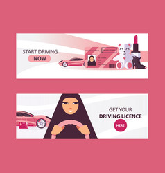 Horizontal banners with saudi woman driving in vector