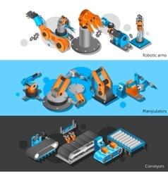 Industrial robot banner set vector