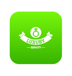 Jewelry quality icon green vector