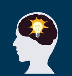 light bulb inside a human head vector image
