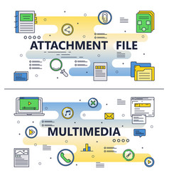 Line art file attachment multimedia vector