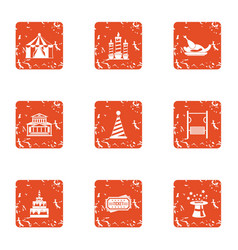 Major holiday icons set grunge style vector