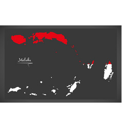Maluku indonesia map with indonesian national flag vector