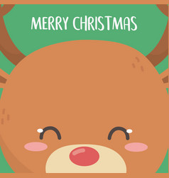 merry christmas celebration cute reindeer head vector image