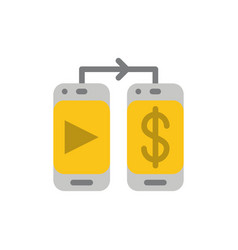 mobile dollar money flat color icon icon banner vector image