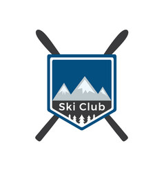 mounting skiing logo design vector image