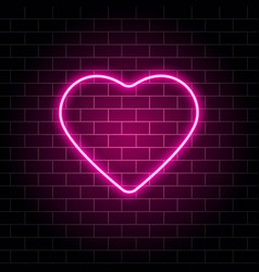 Neon heart bright night neon signboard on brick vector