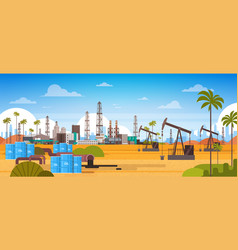 Oil platform in desert east petrolium production vector