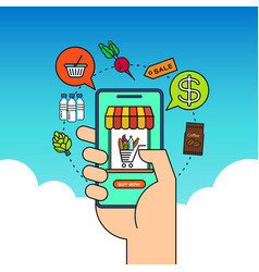 order grocery online from app smart phone fast vector image