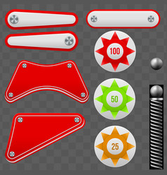 Pinball elements set vector