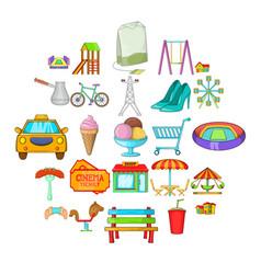 playground icons set cartoon style vector image