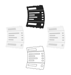receipt icon in cartoonblack style isolated on vector image