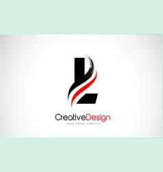 Red and black l letter design brush paint stroke vector