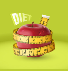 Red fresh apple with yellow measuring tape diet vector