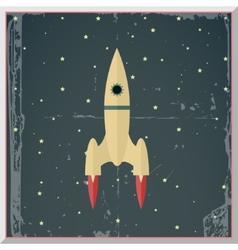Retro Flat Design Rocket Start Space Stars vector